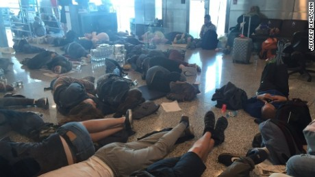 Passengers stranded as Istanbul Ataturk Airport following an attempted coup attempt in Turkey.