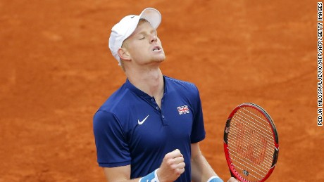 Britain's Kyle Edmund reacts after sealing their Davis Cup passage to the World Group semifinals after beating Serbia's Dusan Lajovic