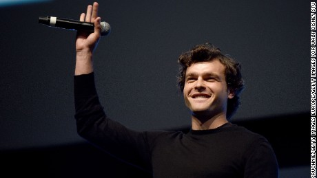 "Alden Ehrenreich, who will play Han Solo, on stage during the ""Star Wars"" Celebration 2016 in London, England."