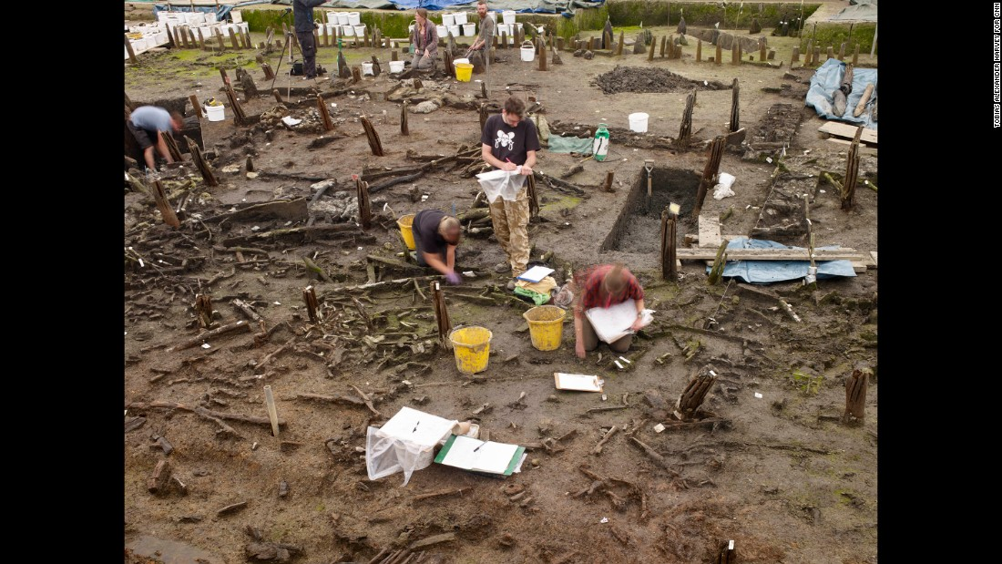 In the last 10 months, the excavation has yielded pottery, textiles, metal work and ancient timbers -- like the exposed charred timbers seen among archeologists working in the central area of the site.