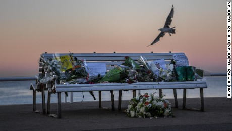 A tribute on a bench honors the victims Sunday on the Promenade des Anglais in Nice.