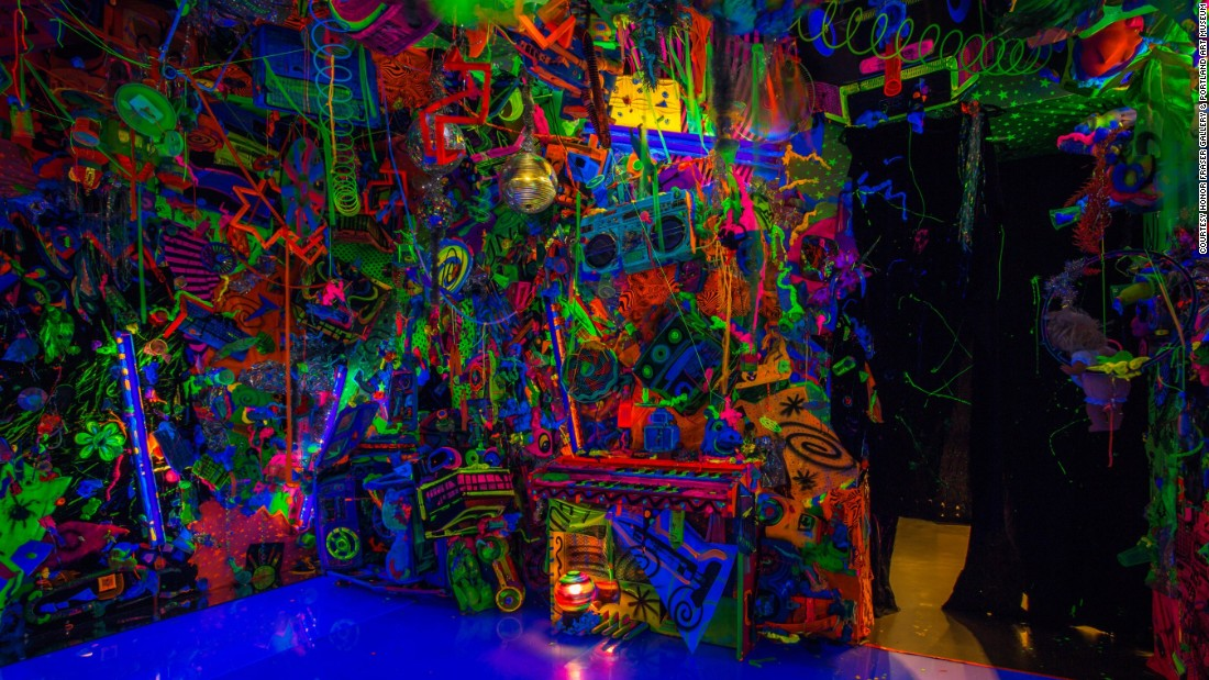 """Pop surrealist Kenny Scharf built the first of his """"Closets"""" in New York, 1981 in a loft he shared with Keith Haring. """"I made it as a place to go and trip,"""" <a href=""""http://kennyscharf.com/wp-content/uploads/2013/10/ARTNEWS-985-GERALD-MARZORATI.pdf"""" target=""""_blank"""">he explains</a>, recalling a period """"when I was really into mushrooms -- doing them maybe once a week."""" Scharf's """"safe space"""" evolved, becoming a cathedral of Day-Glo bricolage, with over 30 iterations in four decades, from LA to Tokyo. His latest offerings, the Cosmic Cavern at the <a href=""""http://portlandartmuseum.org/exhibitions/kenny-scharf-cosmic-cavern/"""" target=""""_blank"""">Portland Art Museum</a> and the <a href=""""http://nassaumuseum.org/exhibits_tahari.php"""" target=""""_blank"""">Nassau County Museum of Art</a>, show Scharf's desire to cram as much psychedelic goodness into one space as possible is anything but diminished."""