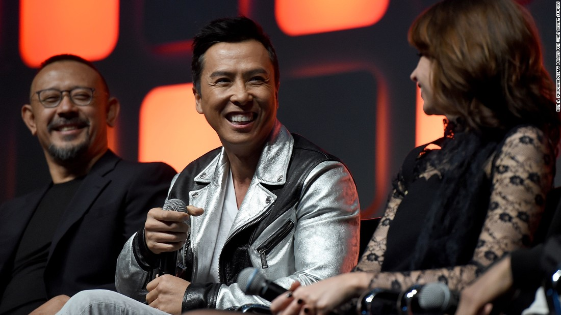 """From left, Jiang Wen, Donnie Yen and Felicity Jones during the """"Rogue One"""" panel at the """"Star Wars"""" Celebration."""