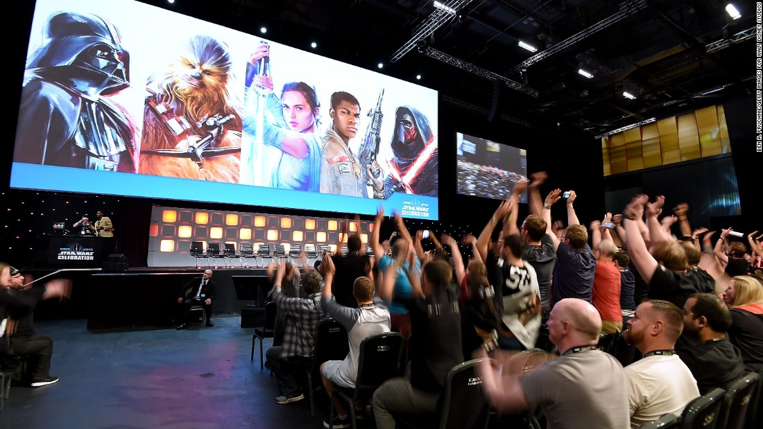 """Fans applaud the """"Rogue One"""" panel."""