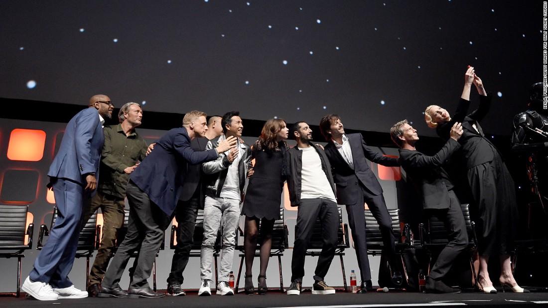 """From left, Whitaker, Mikkelsen, Alan Tudyk, Wen, Yen, Jones, Riz Ahmed,  Luna, Mendelsohn and Christie  during the """"Rogue One"""" panel."""