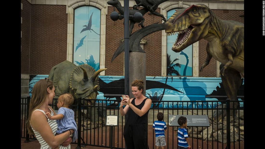 A dinosaur exhibit outside Drexel University's Academy of Natural Sciences.