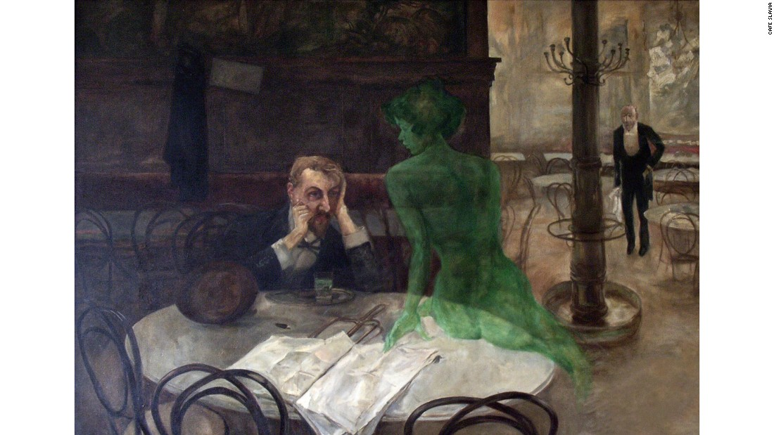 """Czech painter and illustrator Oliva was primarily a graphic artist, but his most famous work is a painting that hangs in Café Slavia, one of his favourite haunts, to this day. Called """"Absinthe Drinker"""", the painting depicts a man accompanied by the Green Fairy, a manifestation of absinthe and its intoxicating allure. The highly-alcoholic drink was popular in bohemian Paris in the late 19th and early 20th century, James Joyce, Ernest Hemingway and Vincent Van Gogh all supping on the green spirit."""