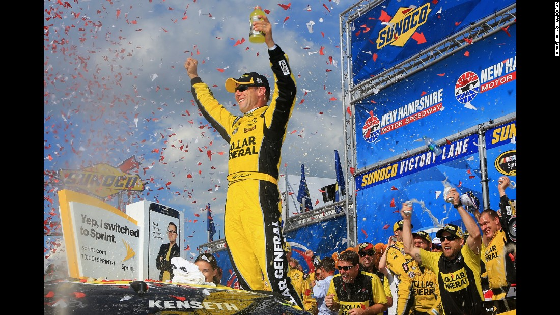 Matt Kenseth celebrates in Victory Lane after winning the Sprint Cup race in Loudon, New Hampshire, on Sunday, July 17. It was his second win of the season.