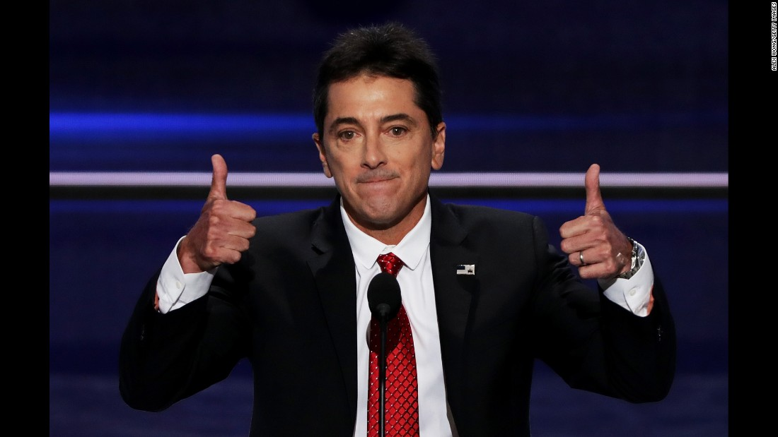 "Actor Scott Baio gives two thumbs up during his speech on Monday. ""Let's not just make America great again,"" he said, referring to Trump's  campaign slogan. ""Let's make America America again!"""