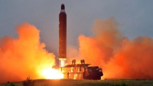 This undated picture released from North Korea's official Korean Central News Agency (KCNA) on June 23, 2016 shows a test launch of the surface-to-surface medium long-range strategic ballistic missile Hwasong-10 at an undisclosed location in North Korea. The Musudan -- also known as the Hwasong-10 -- has a theoretical range of anywhere between 2,500 and 4,000 kilometres (1,550 to 2,500 miles).