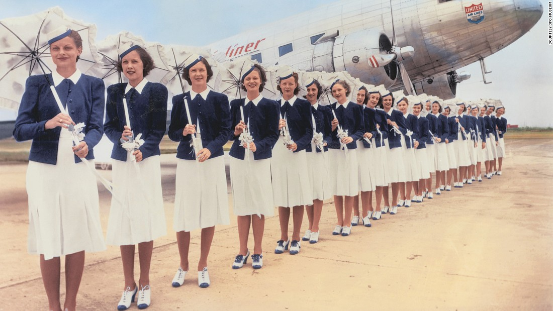 United started coordinating their flight attendant uniforms with the company's colors in this 1939 look by in-house designer Zay Smith. These outfits were used for the airline's Douglas DC-3 service.