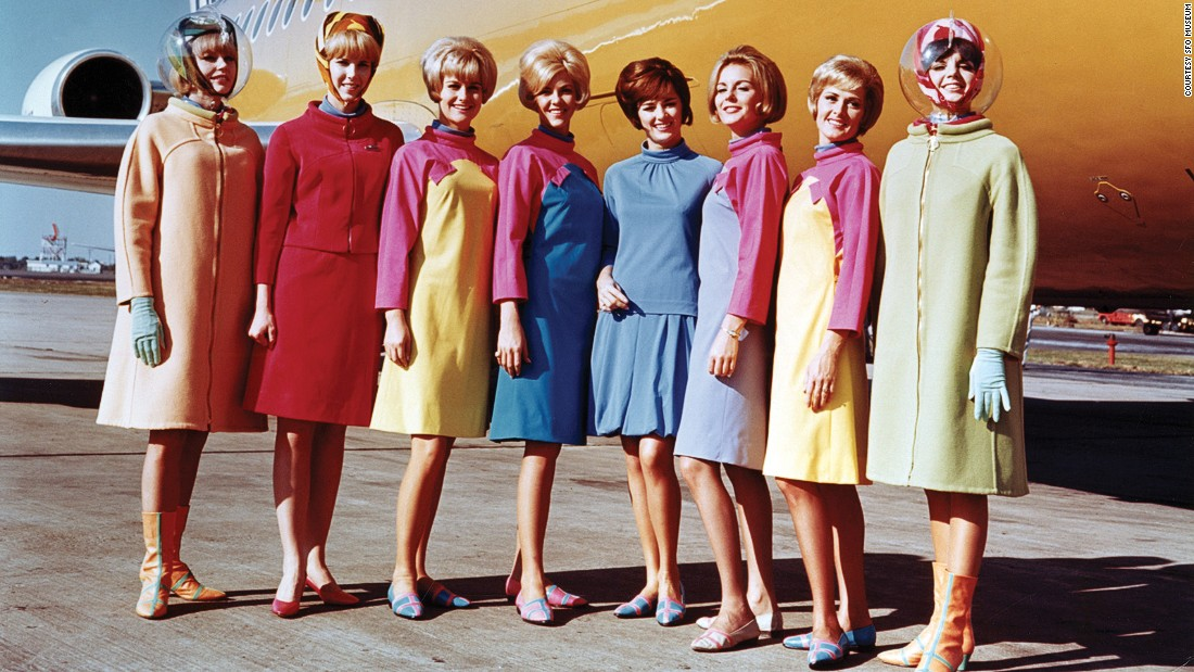 Never one to be afraid of color, Pucci designed Braniff outfits with bold patterns and theatricality.