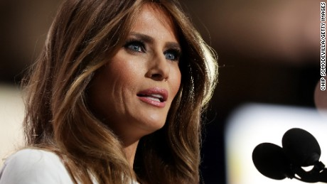 Melania Trump, wife of Presumptive Republican presidential nominee Donald Trump, delivers a speech on the first day of the Republican National Convention on July 18, 2016 at the Quicken Loans Arena in Cleveland, Ohio. An estimated 50,000 people are expected in Cleveland, including hundreds of protesters and members of the media. The four-day Republican National Convention kicks off on July 18.