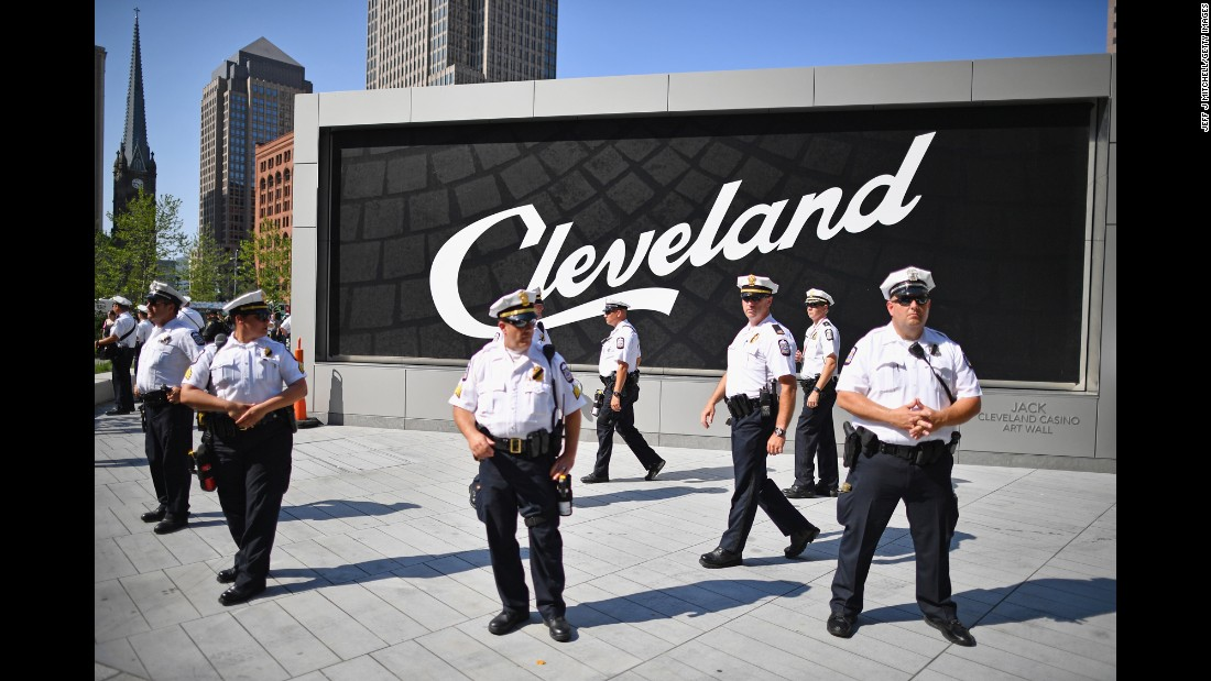 Police gather in downtown Cleveland on Tuesday.