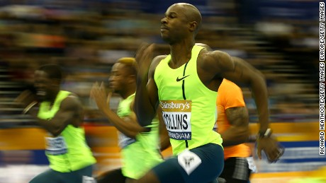 BIRMINGHAM, ENGLAND - FEBRUARY 21:  Kim Collins of St Kitts & Nevis runs in the 60m heats during the Sainsbury's Indoor Grand Prix at the Barclaycard Arena on February 21, 2015 in Birmingham, England.  (Photo by Richard Heathcote/Getty Images)