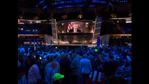 """Donald Trump addresses the crowd Tuesday at the Republican National Convention in Cleveland. """"We're going to make America great again,"""" he said shortly after winning the GOP's presidential nomination. """"Have a fantastic evening. I'll see you tomorrow night, I'll see you Thursday night, and we will win in November."""""""