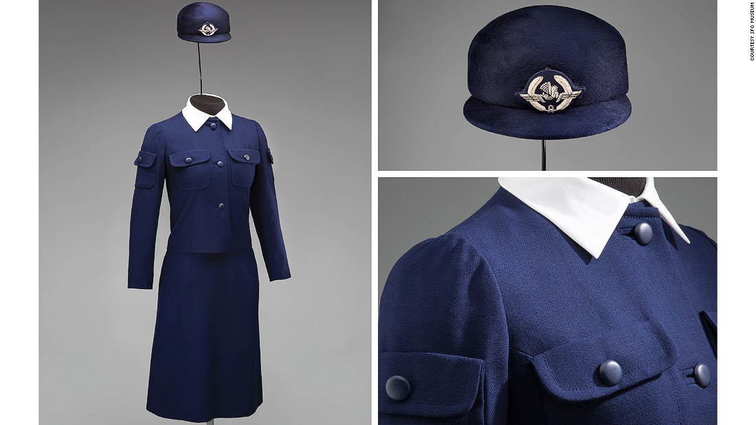 This 1969 winter suit for Air France flight attendants was designed by Cristobal Balenciaga. He closed his fashion house shortly after finishing this collection.