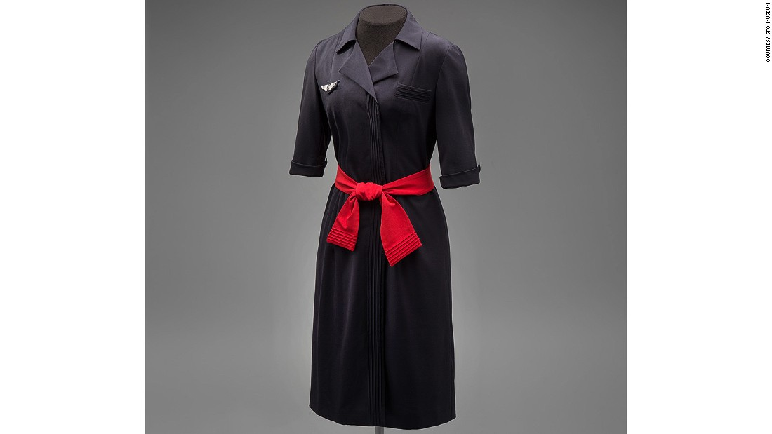 Christian Lacroix's atelier designed over 100 pieces for Air France from 2000 onwards, including this wool-blend dress with Japanese-style tie-belt.