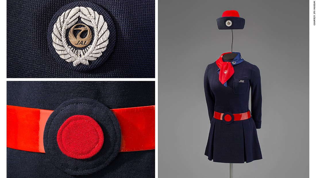 Designed by Hanae Mori, this 1970 Japan Airlines uniform pays homage to two of Japan's national symbols. The hat features a crane motif while the belt invokes the rising sun.
