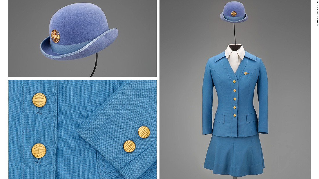 Inspired by an English-style riding habit, this 1971 Pan Am outfit aimed to be both functional and fashionable with a uniform that could be worn in all seasons.