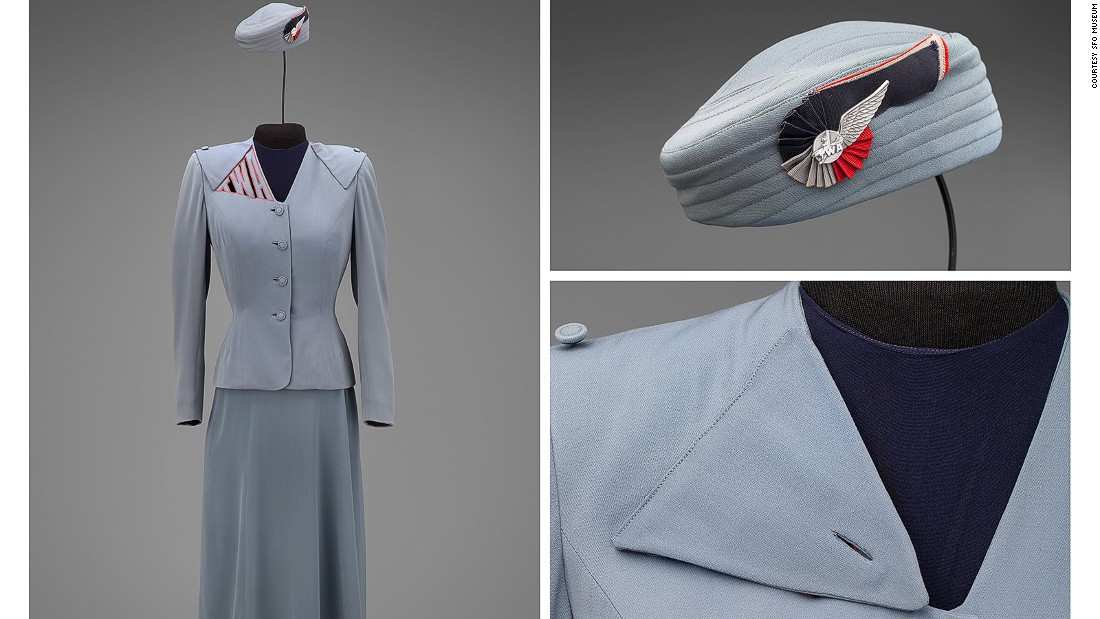This 1944 look by Hollywood fashion designer Howard Greer employed TWA lettering on the shoulder. The logo could be covered with a triangular jacket flap when the attendant wanted to smoke or have a cocktail while off-duty.