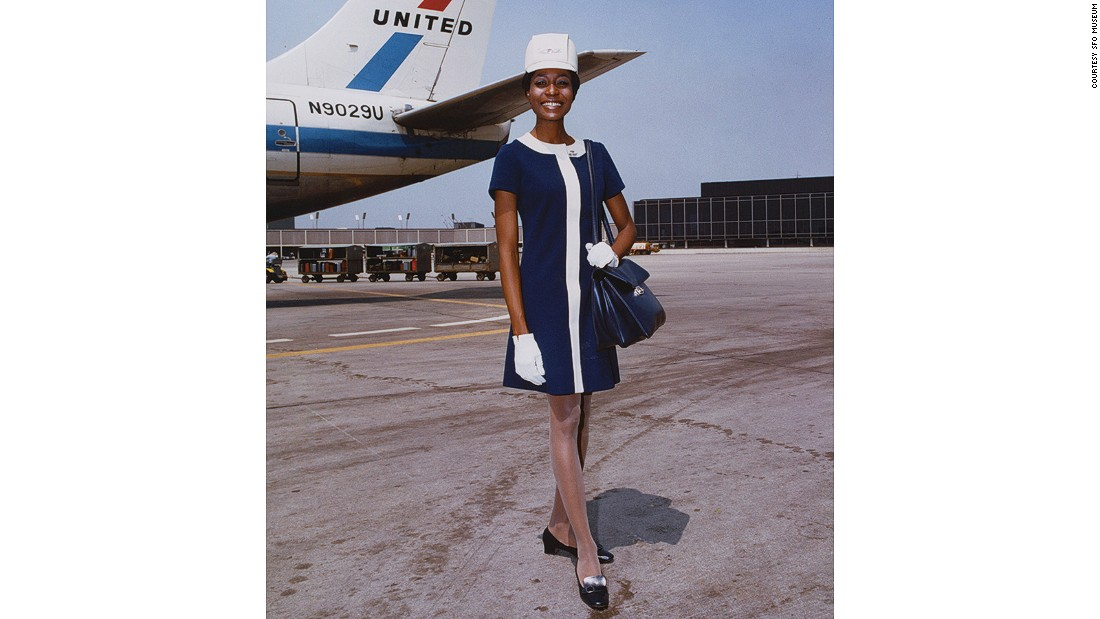 This United Airlines uniform designed by Hollywood costumer Jean Louis was made in double-knit wool and in a tighter fit. These 1968 dresses came in two colors: Hawaiian Sunset and Maliblue.