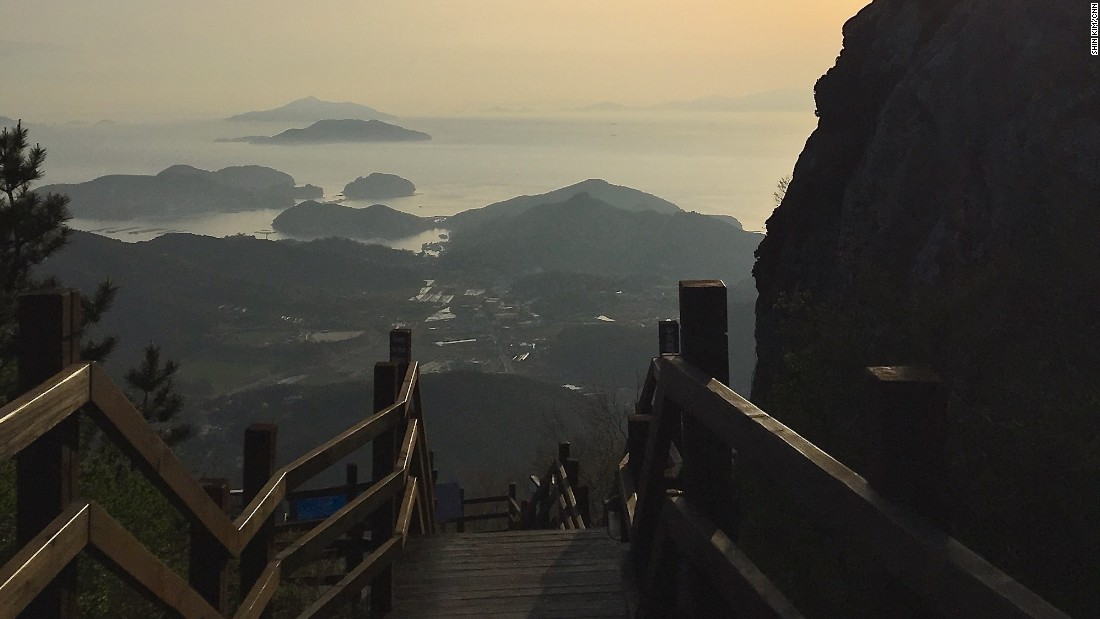 During the summer months, Mireuksan is a popular destination for sunset seekers.