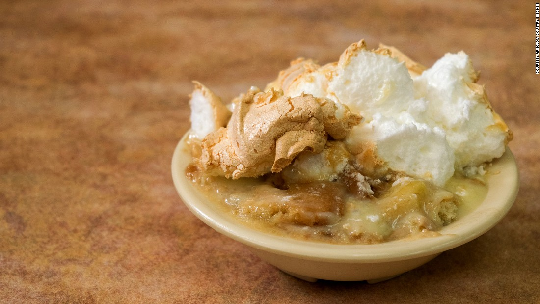 Arnold's Country Kitchen, a James Beard Foundation America's Classics Award holder, serves a popular banana pudding with homemade vanilla custard sauce, layered with vanilla wafers and fresh, ripe bananas sliced thin. Oh, and that's all topped by a meringue.