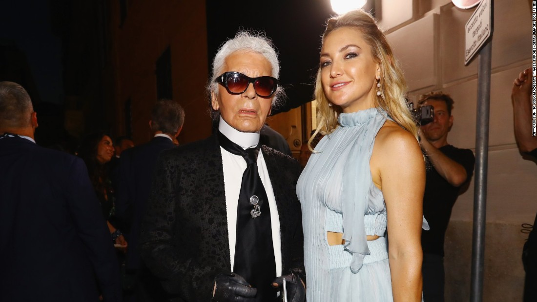 The front row was VIP-packed. Here Kate Hudson and Karl Lagerfeld pose after the show.