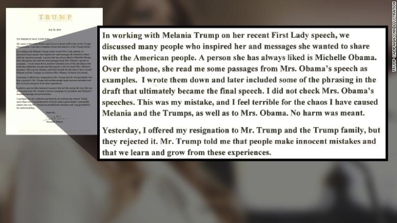 Trump aide takes blame