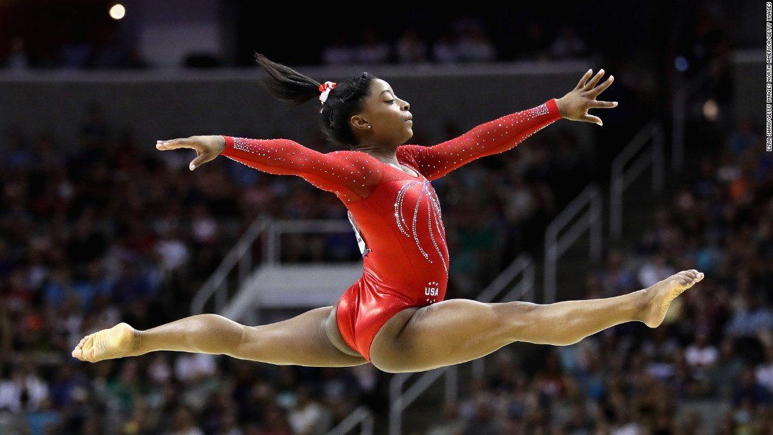 She's only 19 but Simone Biles is already the most decorated American female gymnast in World Championships history with a total of 14 medals -- including a record 10 golds. She's the first woman in 42 years to win four straight national title and the first African-American to be world all-around champion and first woman to win three consecutive world all-around titles.