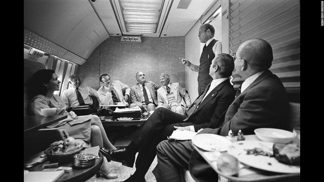 "Ford, en route to the convention, speaks with staff members and delegates aboard Air Force One. <a href=""http://www.cnn.com/2016/07/01/opinions/cnnphotos-david-hume-kennerly-politics/"" target=""_blank"">David Hume Kennerly,</a> Ford's chief White House photographer, was among the group heading to the convention in Kansas City, Missouri."