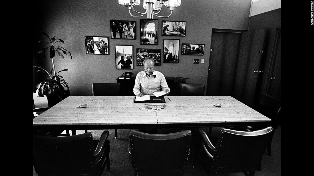Ford works on a speech in his suite.