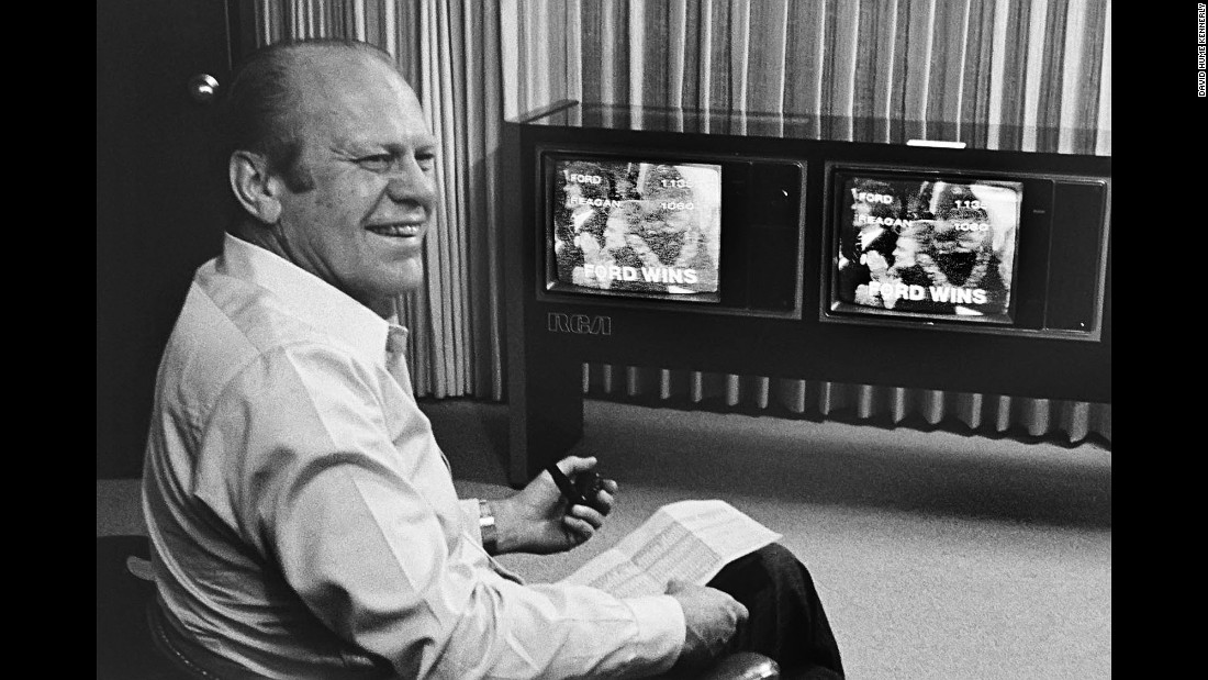 "Ford watches the results on television. ""When he crossed over, he broke into a big smile,"" Kennerly said."