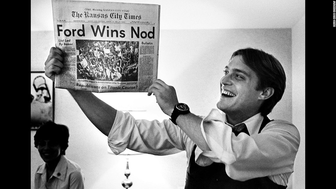 Ford's son Jack holds up a newspaper hailing his father's victory over Reagan.