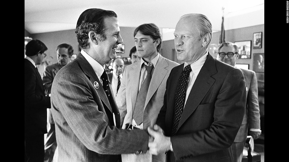 Ford congratulates James Baker for successfully overseeing his delegate hunt. Later in his career, Baker would become White House chief of staff for two other Republican Presidents. He was also treasury secretary under Ronald Reagan and secretary of state under George H.W. Bush.