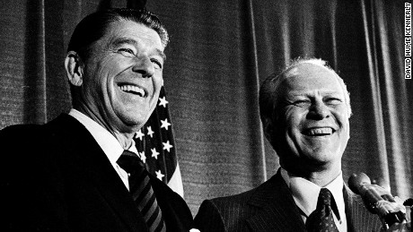 KANSAS CITY -- AUG 18: President Gerald Ford and Gov. Ronald Reagan are all smiles after Ford won the 1976 GOP Presidential nomination in Kansas City. This happy display belied the backstage tension between the two men. (Photo by David Hume Kennerly/GettyImages)