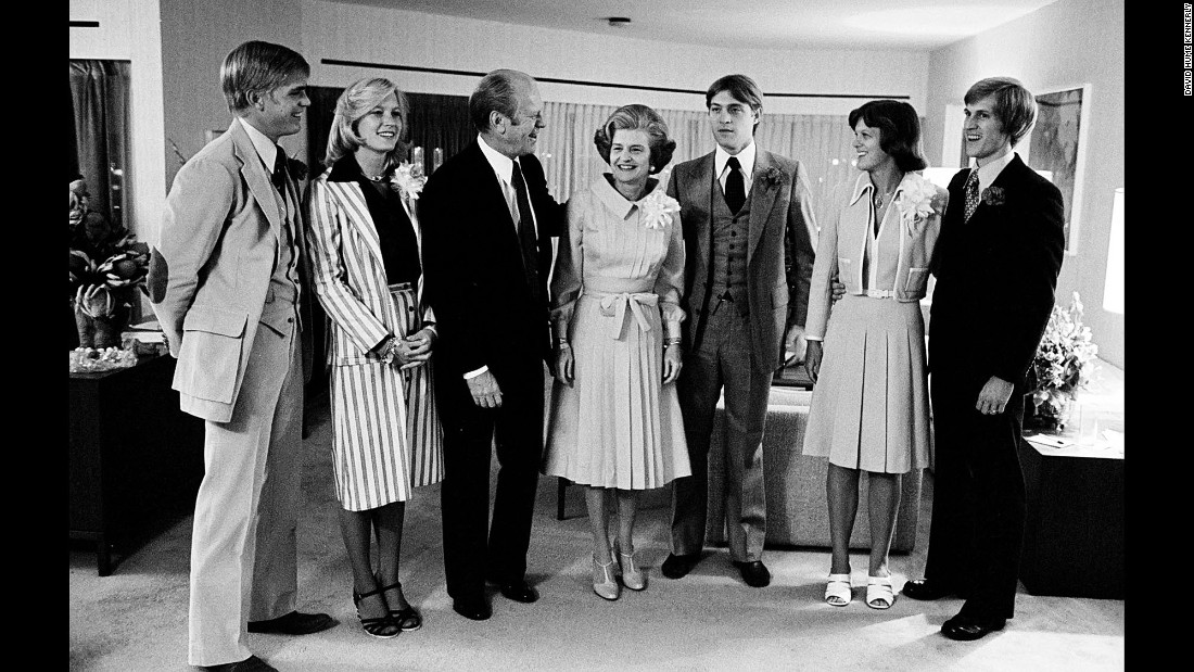 The Ford family gathers backstage before the President accepted the nomination on the final night of the convention. From left are Steve Ford, Susan Ford, President Ford, Betty Ford, Jack Ford, Gayle Ford, and Mike Ford.