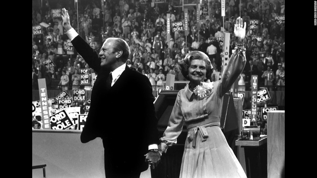 Ford and his wife wave to the crowd after accepting the nomination. Ford went on to lose a close election that year to Carter.