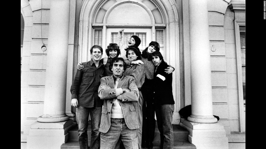 Marshall poses with the stars of some of his TV shows in 1978. Behind Marshall, from left, are Ron Howard, Penny Marshall, Robin Williams, Cindy Williams, Pam Dawber and Henry Winkler.