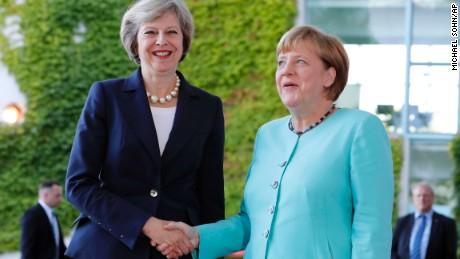 German Chancellor Angela Merkel welcomes British Prime Minister Theresa May in Berlin.