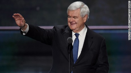 Former Speaker of the US House of Representatives Newt Gingrich arrives to speak on the third day of the Republican National Convention in Cleveland, Ohio, on July 20, 2016.