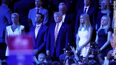 CLEVELAND, OH - JULY 20:  (L-R) Vanessa Trump, Donald Trump Jr., Republican presidential candidate Donald Trump, Ivanka Trump and Tiffany Trump stand as they listen to Sen. Ted Cruz (R-TX) speak during the third day of the Republican National Convention on July 20, 2016 at the Quicken Loans Arena in Cleveland, Ohio. Republican presidential candidate Donald Trump received the number of votes needed to secure the party's nomination. An estimated 50,000 people are expected in Cleveland, including hundreds of protesters and members of the media. The four-day Republican National Convention kicked off on July 18.  (Photo by Win McNamee/Getty Images)