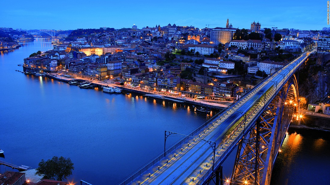 The upper deck of Dom Luis I Bridge presents a stunning view of Porto, the biggest city in northern Portugal.