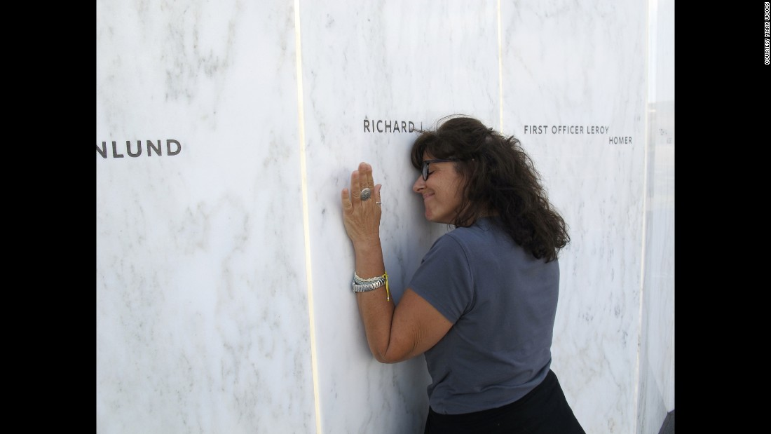 """""""In September, Lori Guadagno (pictured here) and I headed to one of America's relatively new national parks, one entrusted with telling part of the story of 9/11 and preserving the site of the United 93 crash,"""" wrote Woods. """"Lori's brother, Richard Guadagno, was on United Flight 93. He was a U.S. Fish & Wildlife ranger who devoted his life to preserving and protecting natural places.""""<br />"""