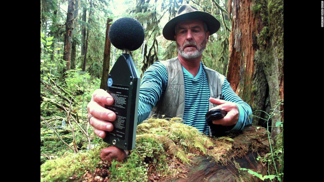 """""""Gordon Hempton won an Emmy for his recordings of natural sound and considers Olympic National Park in his backyard to be one of the 'last quiet places on earth,'"""" wrote Woods. """"In an effort to preserve that quiet, he started a noise control project built around a spot in the Hoh Rain Forest that he dubbed 'One Square Inch of Silence.' During a visit to Olympic, I hiked with Hempton to the spot and camped one rainless night in the rain forest.""""<br />"""