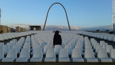 Empty theater: Tour guide Mira Minkara is one of the few regular visitors.