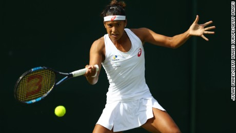 LONDON, ENGLAND - JUNE 27:  Teliana Pereira of Brazil plays a forehand shot during the Ladies Singles first round against Varvara Lepchenko of The United States on day one of the Wimbledon Lawn Tennis Championships at the All England Lawn Tennis and Croquet Club on June 27th, 2016 in London, England.  (Photo by Julian Finney/Getty Images)