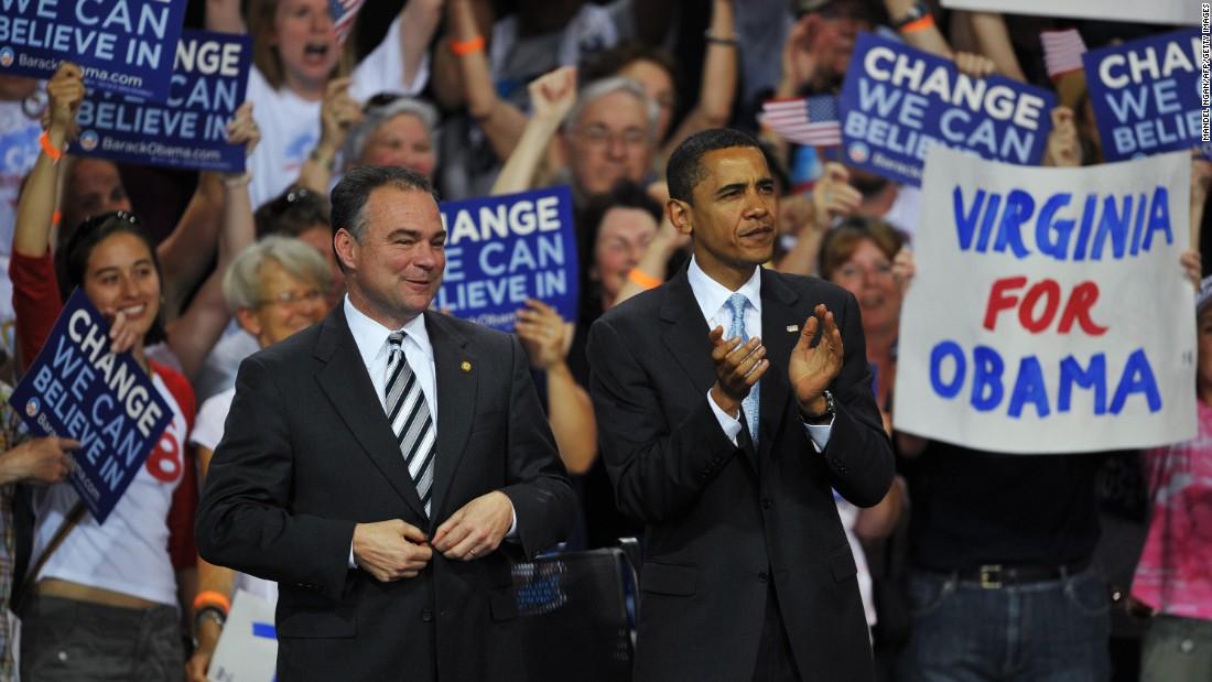Obama and Kaine applaud as U.S. Sen. Jim Webb speaks at a rally in Bristow, Virginia, in 2008.