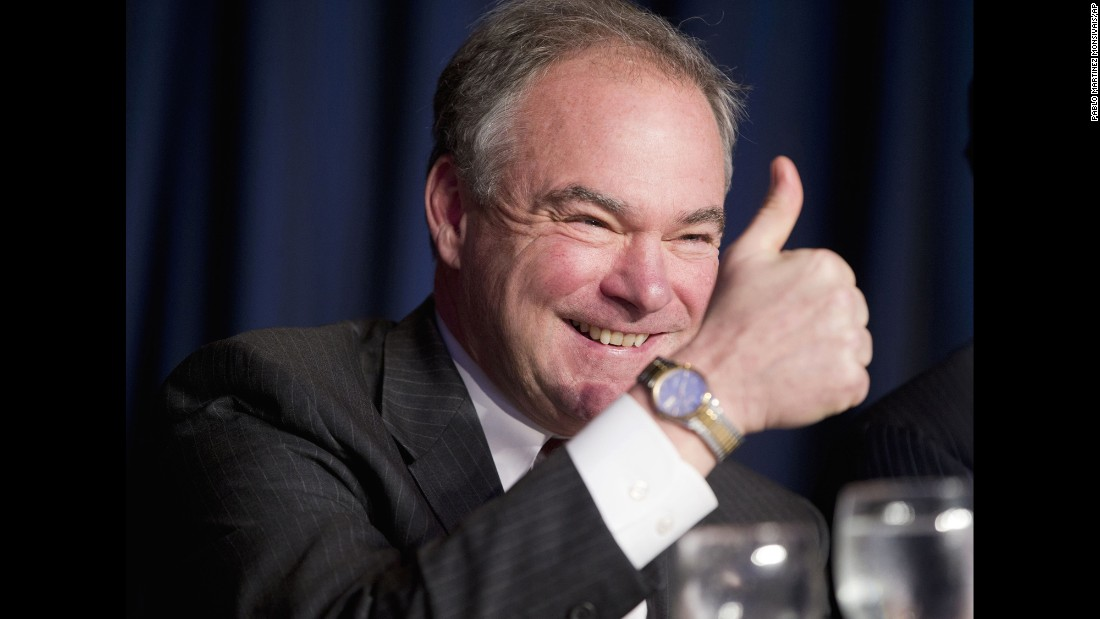 Kaine gives a thumbs-up at the National Prayer Breakfast in February.